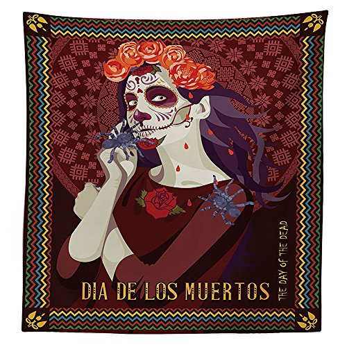 [Day Of The Dead Decor Tablecloth Dia de los Muertos Print Woman with Calavera Makeup Spanish Rose Art Dining Room Kitchen Rectangular Table Cover] (Monster High Dia De Los Muertos)
