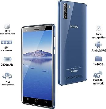 Moviles Libres 4G, 16GB ROM Android 9.0 5MP+8MP, 5.0 Pulgadas Smartphone Libre Dual SIM, 2800mAh Quad Core Face ID Moviles Buenos (2 x Micro SIM +1 MicroSD-Azul: Amazon.es: Electrónica