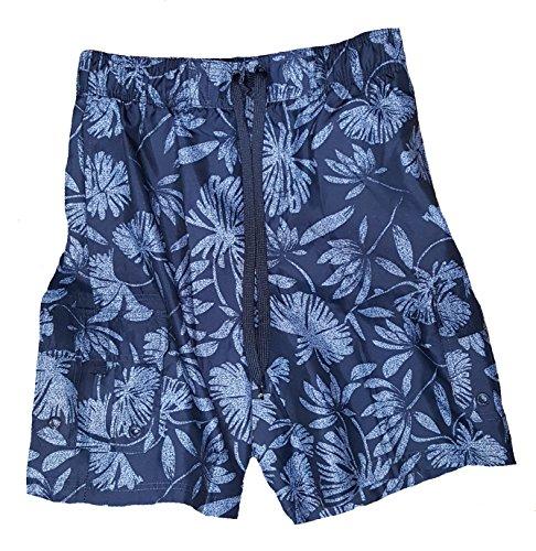 Op Navy Hibiscus Tugger Above Knee 20 5  Outseam Swim Short Trunks   Large