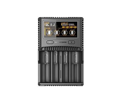 Nitecore SC4 – Profesional de 4 bahías de Carga para baterías de Ion de Litio, NiMH, NiCd, Pantalla LCD a Color