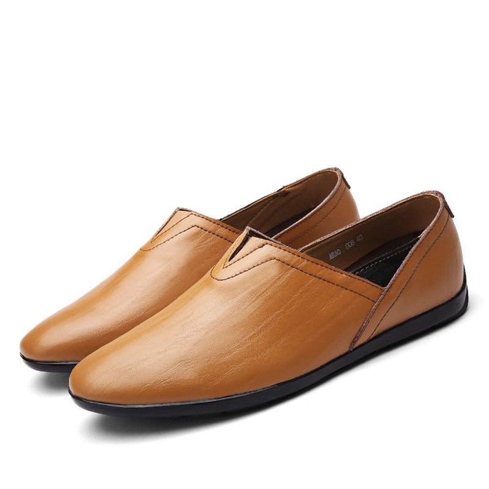 Mocasines de los Hombres PU Cuero Slip en Mocasines de Moda Zapatos Casuales 37 EU|Yellow Brown