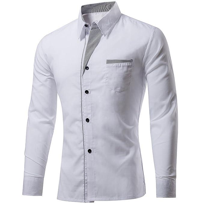 7db38febcb76 ... Camicie Casual Uomo Slim Fit Maniche Lunghe Camicia Formale Camicie da  Lavoro Uomo Manica Lunga Button Down Camicie per Uomo  Amazon.it   Abbigliamento