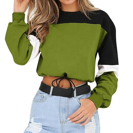 fed9800135d30f BingYELH Women's Fall Long Sleeve Color Block Loose Pullover Crop Top  Sweatshirt with Drawstring (Green