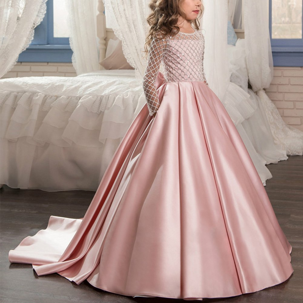 Amazon.com: IBTOM CASTLE Kids Girls Vintage Lace Communion Ball Gown Floor Long Pageant Prom Evening Dance Dress: Clothing