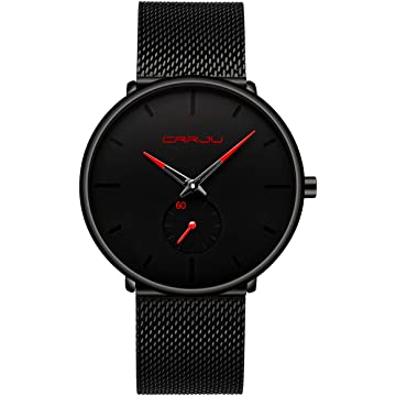 Mens Watch Ultra Thin Wrist Watches for Men Fashion Waterproof Dress Stainless Steel Band/Leather
