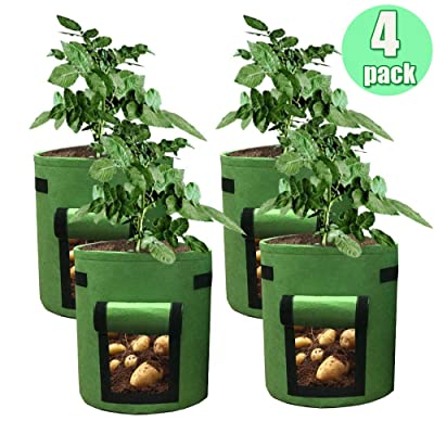 HAHOME 4 Pack 7 Gallon Potato Grow Bag, Garden Planting Bags, Vegetables Planter Bags, Non-Woven Aeration Fabric Pot Growing Bags with Handle and Access Flap, Green : Garden & Outdoor
