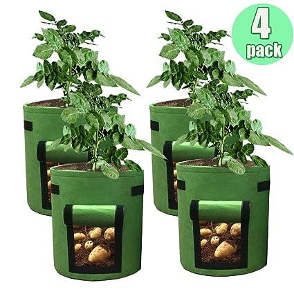 Amazon.com: HAHOME 4 paquetes de bolsas para plantar patatas ...