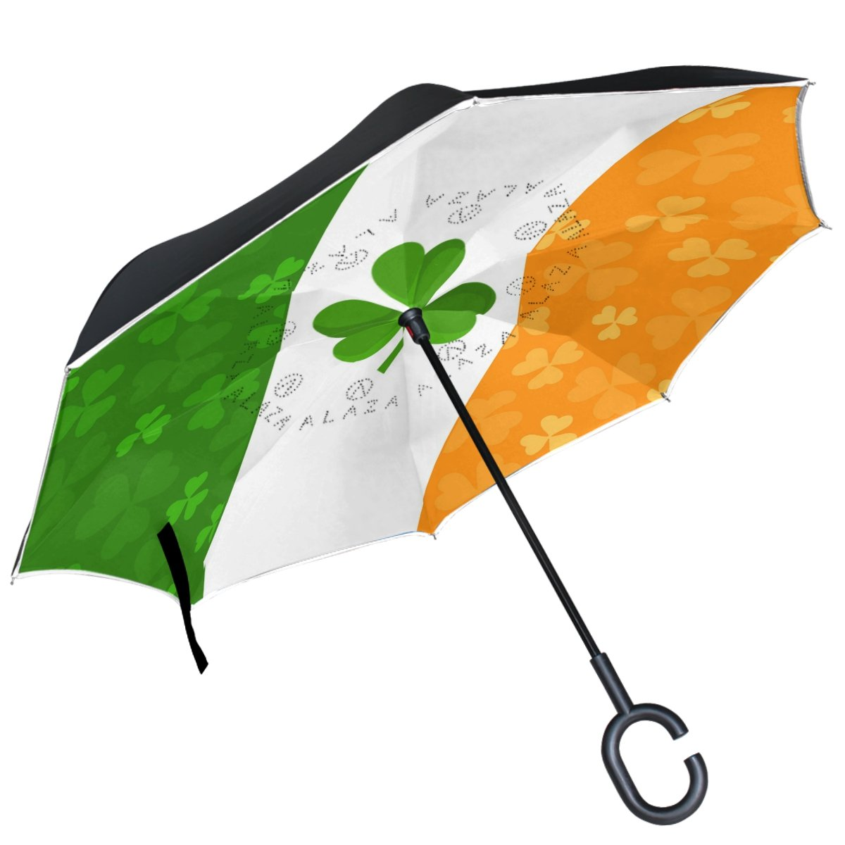 ALAZA bandera irlandesa trébol Trébol paraguas invertido doble ...