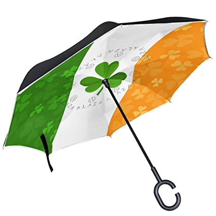 ALAZA Irish Flag Clover Shamrock Inverted Umbrella Double Layer Windproof Reverse Umbrella