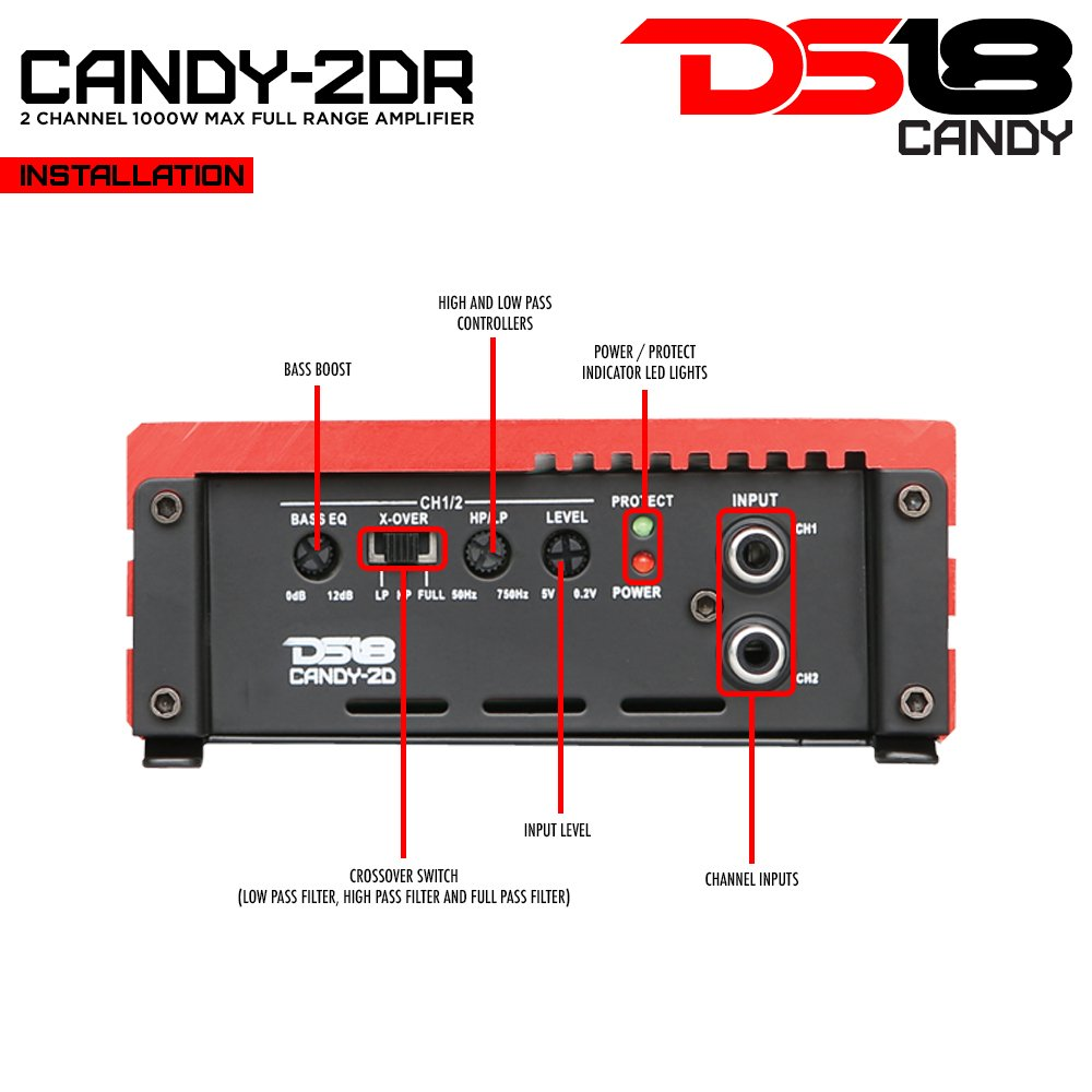 DS18 CANDY-2DR Full Range 2 Channel Class D 1000 Watts Max Mini Amplifier (Red)
