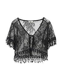 Womens Tassel Plus Size Lace Bolero Shurg Jacket Short Sleeve Blouse Open Cardigan