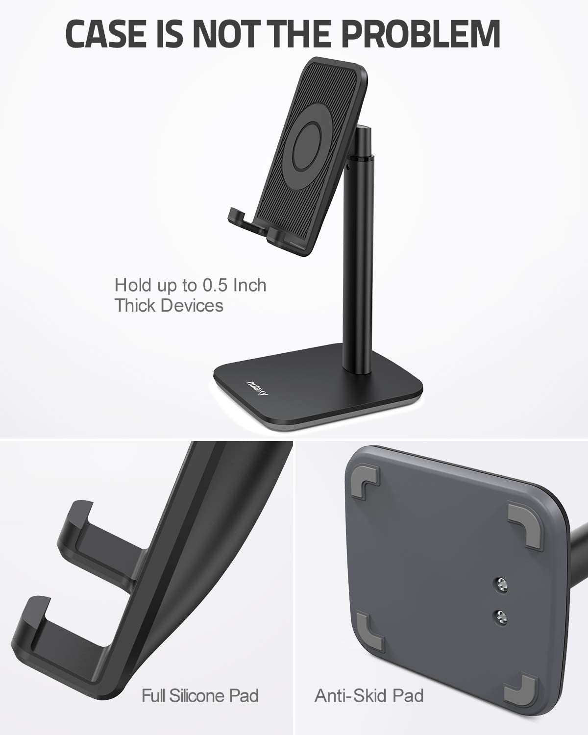 All Smartphones Dock Upgraded Height Angle Adjustable Cell Phone Stand Nulaxy Phone Stand Desk Phone Holder Compatible with iPhone Xs Xr 8 X 7 6 6s Plus SE 5 5s 5c Cradle Black