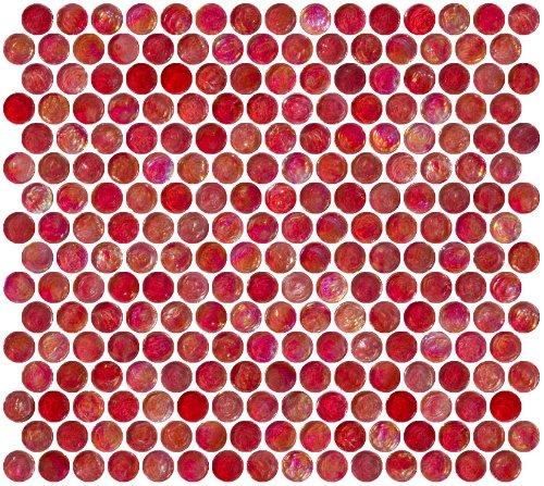 Susan Jablon Mosaics - Penny Round Red Iridescent Glass Tile