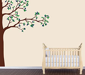 Babys Nature Wall Decal, Blue Tree Wall Art, Babys Nursery