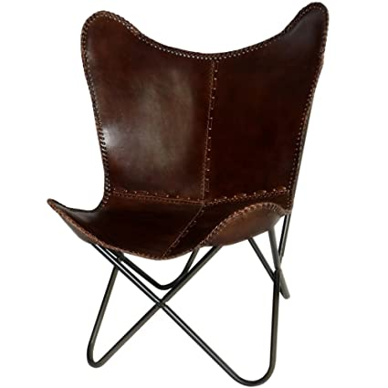 Marvelous Butterfly Chair Brown Leather Butterfly Chairs   Handmade With Powder  Coated Steel Frame