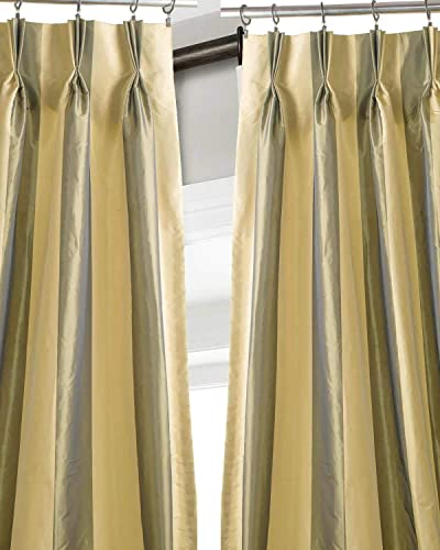 Hand Made Striped Faux Silk Pinch Pleated Black Out/Thermal Insulated Lined 27″ Wide Living Room Window Curtain Drape Panel Green Stripe