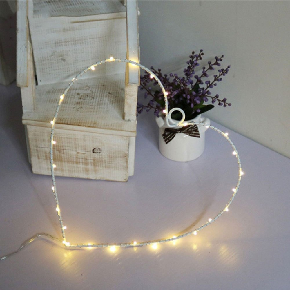 MyEasyShopping Party Decoration Window Picture 3D LED Table Night Light White Heart