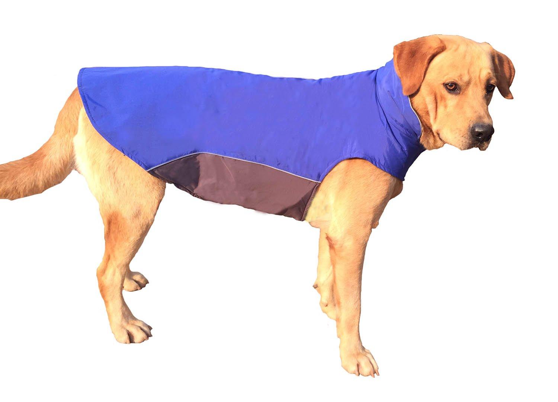 BONAWEN Autumn Winter Dog Coat Waterproof for Extra Large Dog with Leash Hole, Chest up to 39'' (Navy,4XL)