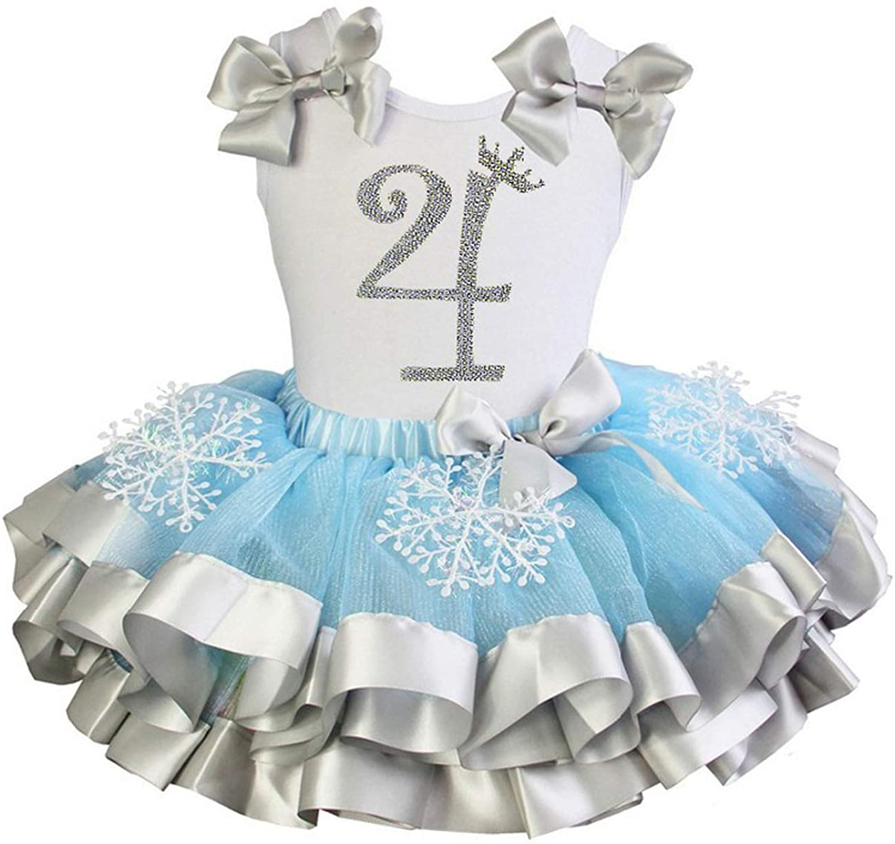 Petitebella My 4th Birthday White L//s Shirt Silver Light Blue Petal Skirt Nb-8y