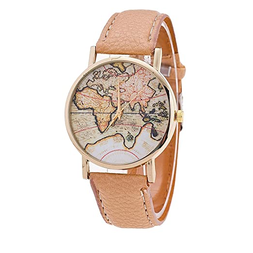 Amazon.com: Retro World Map Watches - Vintage Analog Quartz Leather ...