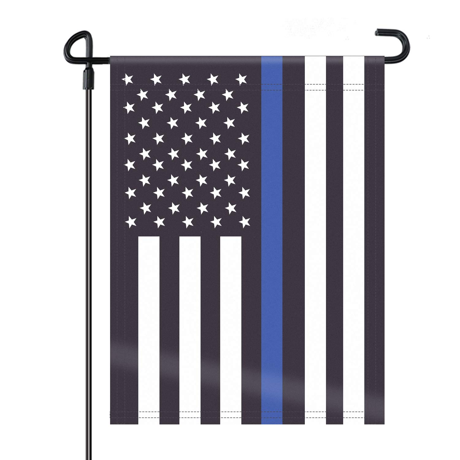 HOOSUN Double Sided Thin Blue Line American Police Garden Flag, USA United States Decorative Garden Flags - Weather Resistant & Double Sided - 12.5 x 18 Inch