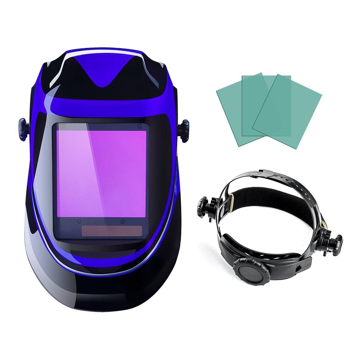 Casco de soldadura con energía solar para oscurecimiento automático, parasol profesional con lente amplia, rango de pantalla ajustable 4/9-13 para Mig Tig ...