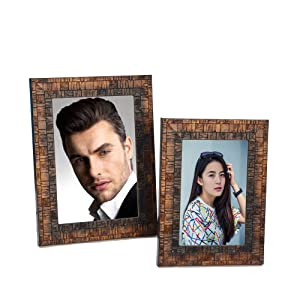 Padyal Collection of Two Individual Synthetic Photo Frames-Picture Size: 5x7 inch & 4 x 6 inch (Copper Metalic)