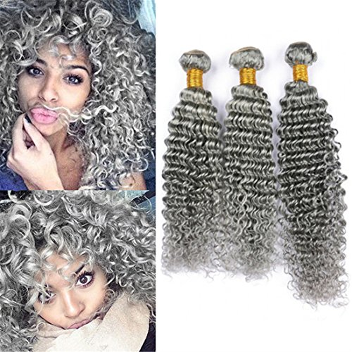 Price comparison product image Zara Hair Grey Human Hair Weave Deep Wave 3 Bundles Indian Virgin Hair Grey Curly Human Hair Extensions Pure Gray Hair Double Weft 100g/Bundle (20 22 24 Inch)