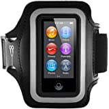 Fitness Guru iPod Nano 7 Running Jogging Armband Holder Made with Super Strong Lycra Material with Reflective Stay Safe Strip, Dual Arm Size Slots, Key Pocket & Headphone Holder
