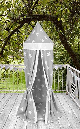 KraftKids Hängezelt große weiße Sterne auf Grau und Uniweiss