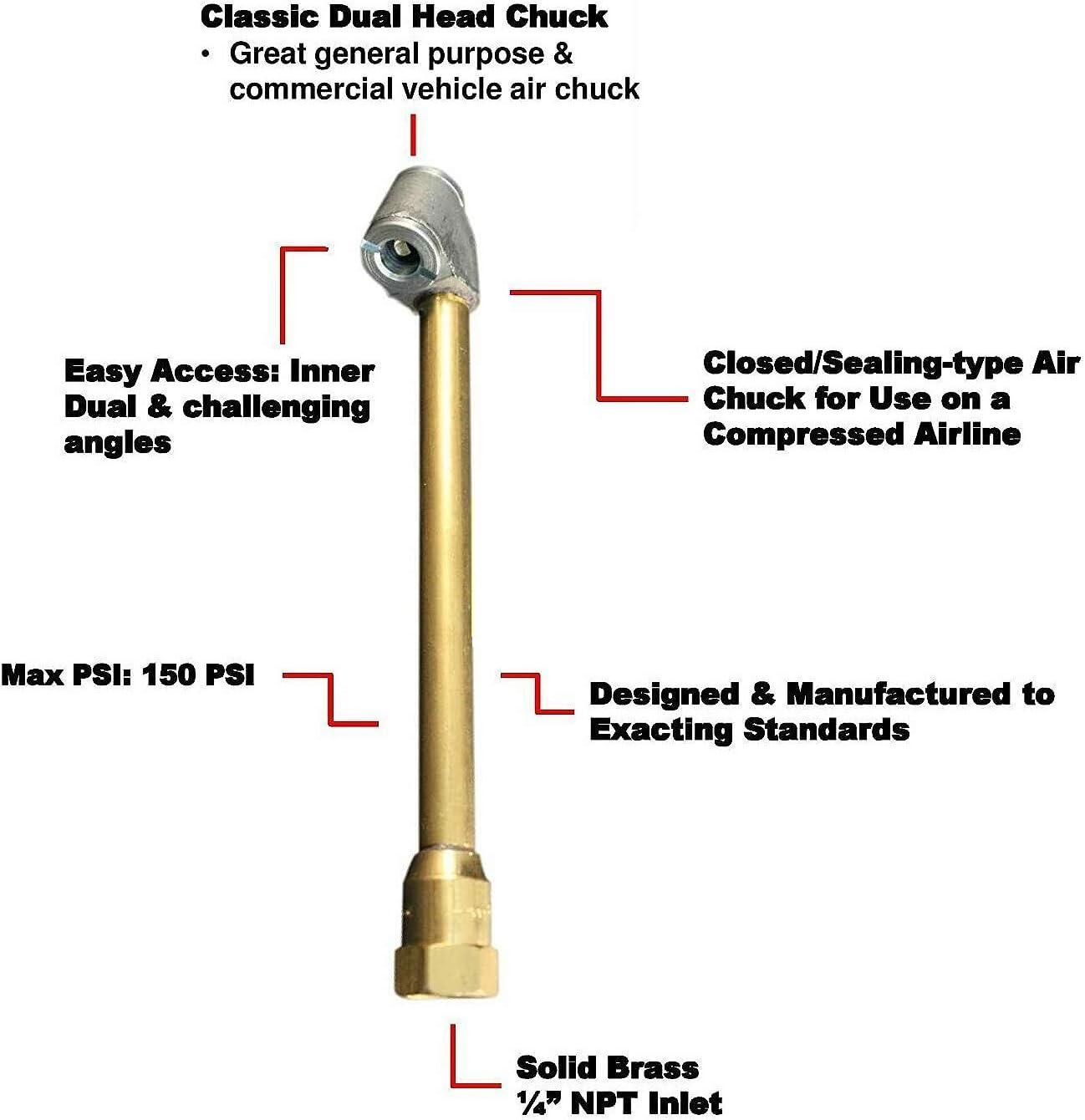 Xigeapg Heavy Duty Brass Air Chuck Set 1//4 Inch FNPT Dual Head Air Chuck 1//4 Inch Closed Ball Air Chuck