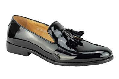 Mens Real Patent Leather Black Shiny Slip On Smart Loafer Shoes HY02-K7
