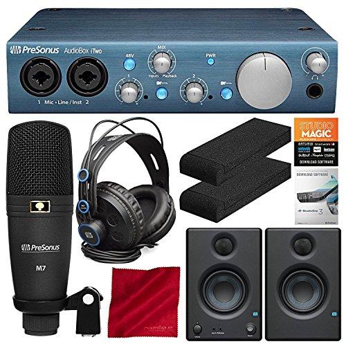PreSonus AudioBox iTwo Studio Plus Mobile Complete Computer/iPad Recording Kit with Studio One Artist and Eris E3.5 Monitor (Pair) Deluxe Bundle