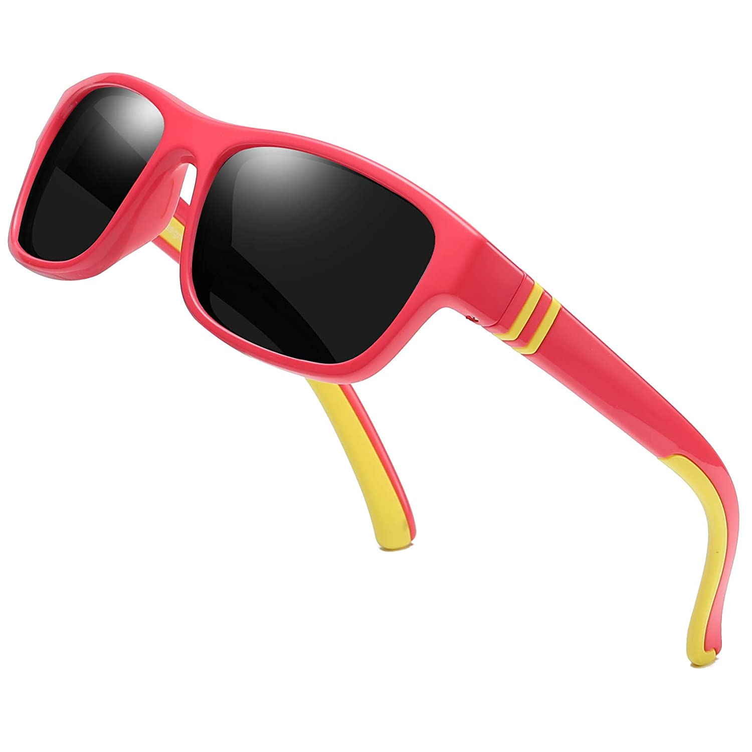 Duco Kids Sports Style Polarized Sunglasses Rubber Flexible Frame For Boys And Girls DC-K001-2-US