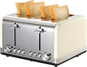 Retro Small Toaster with Bagel, Cancel, Defrost Function, Extra Wide Slot Compact Stainless Steel Toasters for Bread Waffles (4 Slice, Beige)