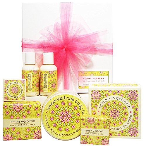 Greenwich Bay Lemon Verbena Bath & Body Gift Set, Gift for Her, Birthday, Mother's Day, Christmas, Individually Wrapped and Gift Boxed