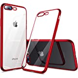 【Humixx】 iPhone7Plus ケース iPhone8Plus ケース [ TPU ソフト ] [ ワイヤレス充電対応 ] [ 超薄型 超軽量 ] [ 耐衝撃 カバー ] ( iPhone 7/8 Plus , クリア ・ レッド )
