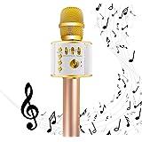 EMISH Wireless Karaoke Microphone 3-in-1 Microphone Speaker 2600mAh Portable Karaoke Machine Built-in Bluetooth Speaker Machine for iPhone Android Smartphone or Pc(Golden)