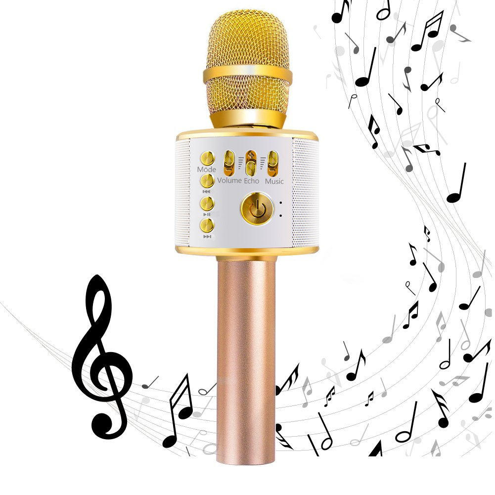 EMISH Wireless Karaoke Microphone 3-in-1 Microphone Speaker 2600mAh Portable Karaoke Machine Built-in Bluetooth Speaker Machine for iPhone Android Smartphone or Pc(Golden) karaoke-gold