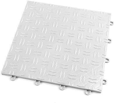 Incstores Diamond Grid Loc Garage Flooring Snap Together Mat Drainage Tiles 12 Tile Pack Arctic White Amazon Com
