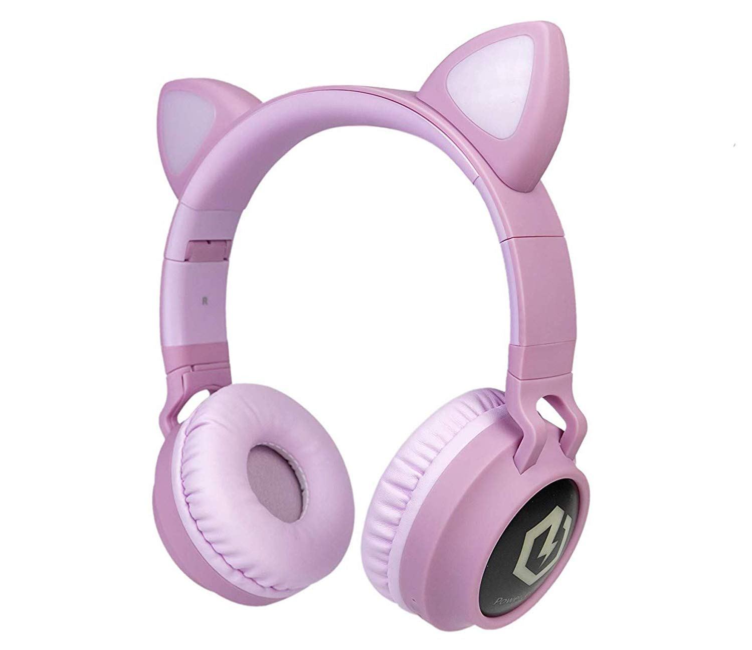 PowerLocus Buddy Wireless Bluetooth Headphones for Kids, Kid Headphone Over-Ear with LED Lights, with 10H Playtime, Wireless and Wired Headphone for Cell Phones,Tablets,PC,Laptop (Pink)