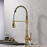 copper kitchen pulldown faucets KES Brass Singel Lever High Arc Pull Down Kitchen Faucet with Retractable Pull Out Wand, Swivel Spout, L6915BLF-PG