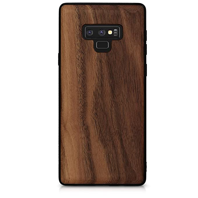 kwmobile Wooden Protective Cover for Samsung Galaxy Note 9 - Hard case with TPU Bumper Walnut in Dark Brown