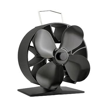 Ahorro de combustible de 4 cuchillas Ventilador de estufa portátil Ventilador de cocina de metal con ventilador (Color negro): Amazon.es: Coche y moto