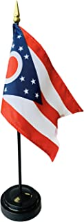 product image for 4x6 E-Gloss Ohio Stick Flag with Plastic Table Base - Qty 12