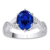 10K White Gold Oval Shape Sim. Gemstone & 0.06 Ct Diamond Solitaire Engagement Ring