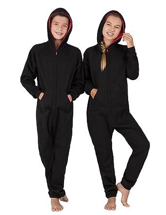 b8a368c90b Amazon.com  Joggies - Black   Red Kids Footless Hoodie Onesie  Clothing