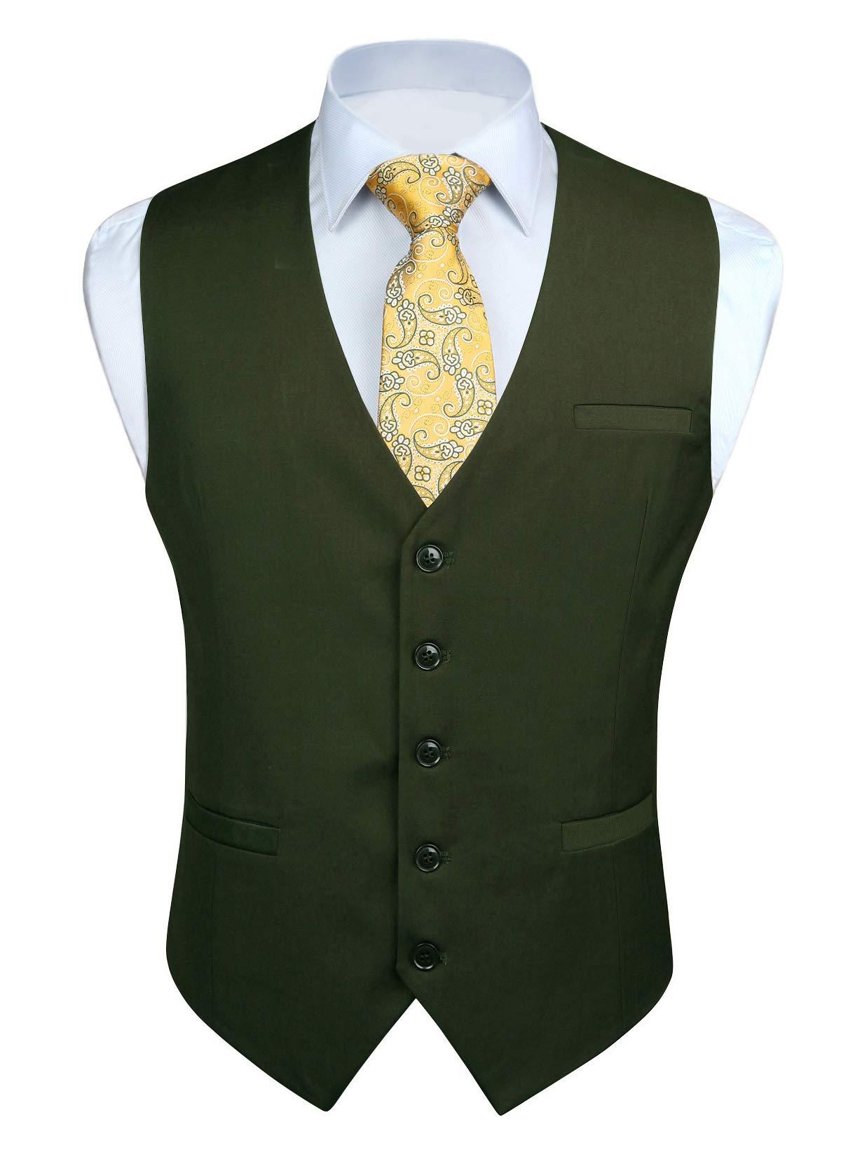 HISDERN Men's Suit Vest Business Formal Dress Waistcoat Vest with 3 Pockets for Suit or Tuxedo Green by HISDERN