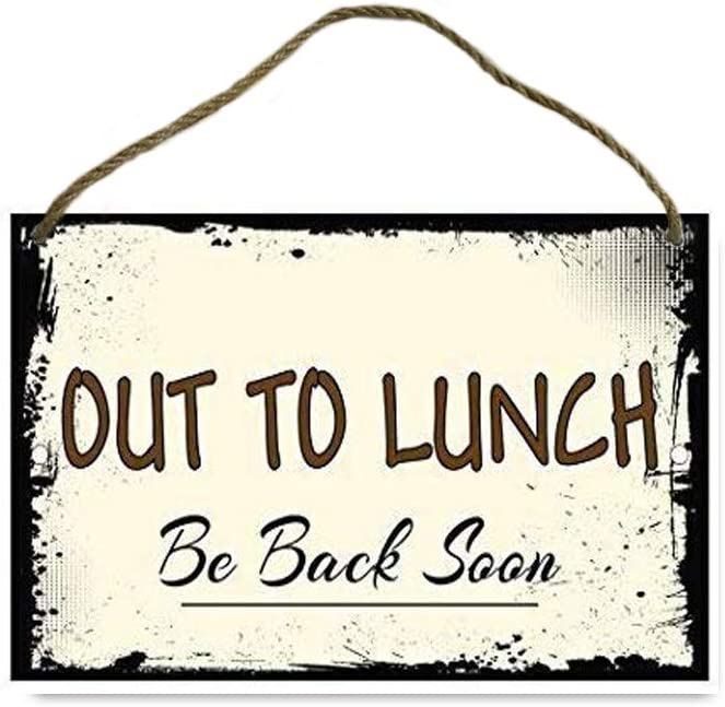 TOPlastt Out to Lunch Be Back Soon Novelty Funny Vintage Look Reproduction Wood Sign 20x30cm