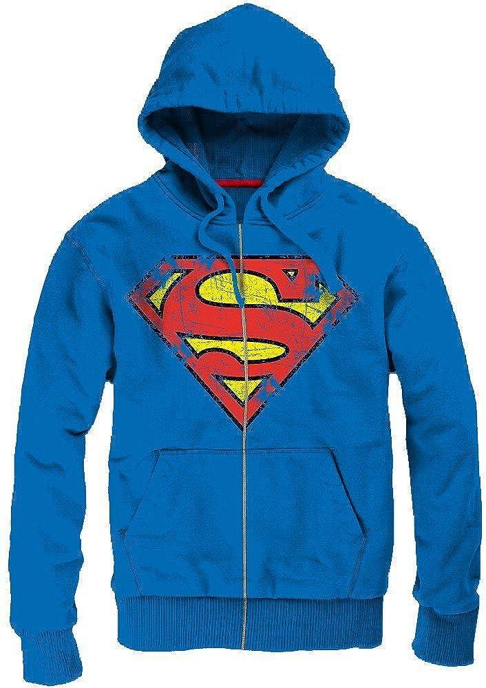 Superman Sweatshirt Kapuze Reißverschluss Vintage Logo blau